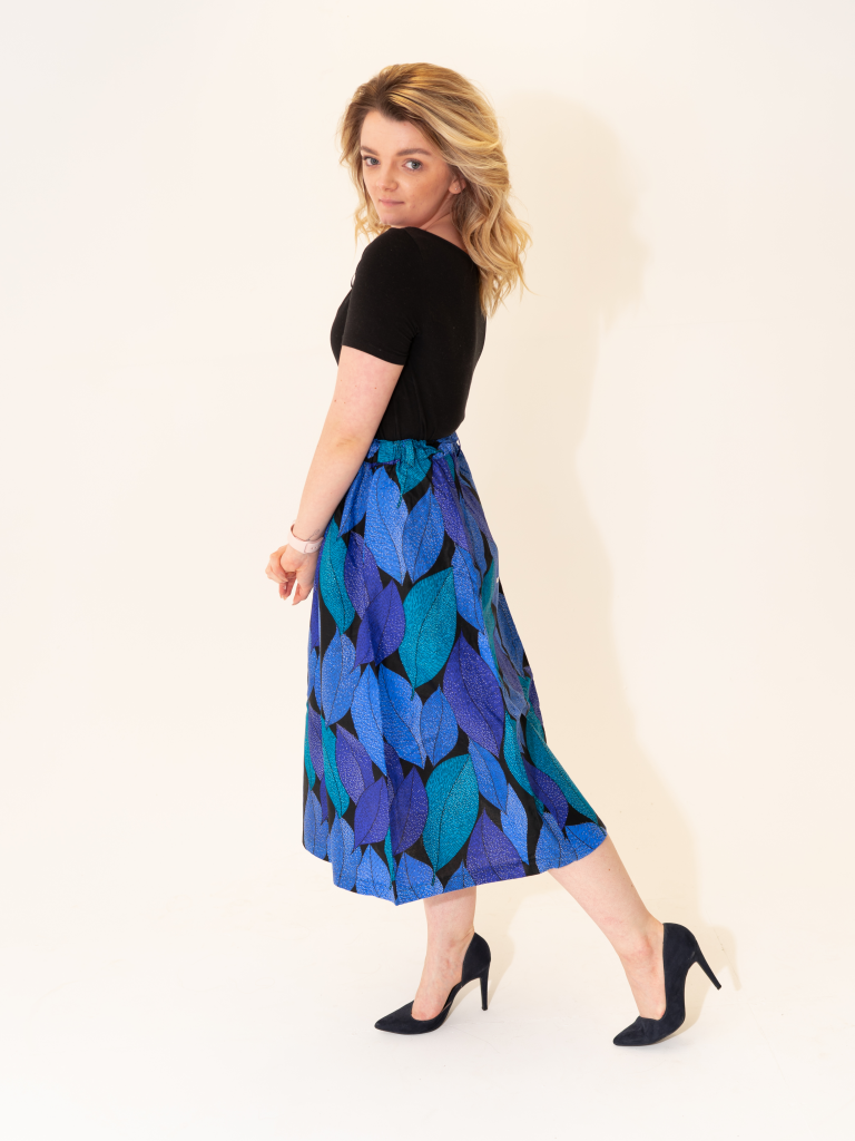 African Fashion ThisLife Yo Couture Skirt in Blue Leaves