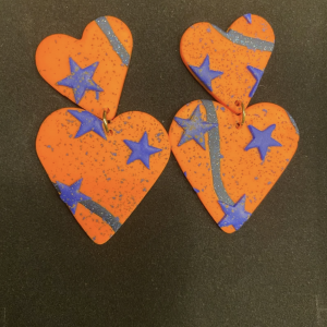 2-Orange Hearts Statement Earrings Yo Couture