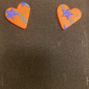 1-Heart Orange Stud Statement Earrings Yo Couture
